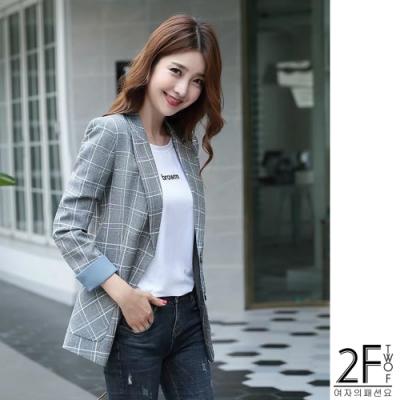 2F韓衣-韓系格線翻袖西裝外套-3色(M-2XL)