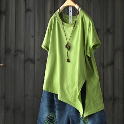 開叉不規則短袖T恤寬鬆純棉上衣-設計所在