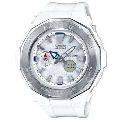 BABY-G海灘豪華露營概念風格休閒運動錶( BGA-225-7A)白X銀框45.5mm