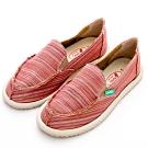River&Moon休閒鞋-繽紛條紋懶人鞋-紅系