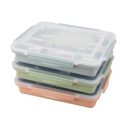 北歐 304不鏽鋼5格分隔式便當盒 (3入組) 贈密封湯碗  顏色隨機