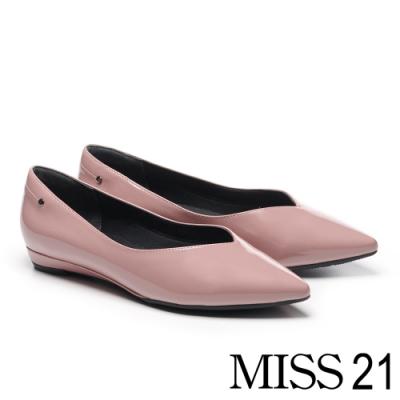 低跟鞋 MISS 21 簡約時尚鉚釘點綴尖頭低跟鞋-粉