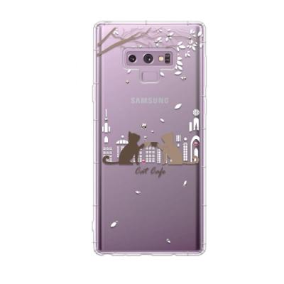 Corner4 Samsung Galaxy Note9 奧地利彩鑽防摔手機殼-午茶貓咪