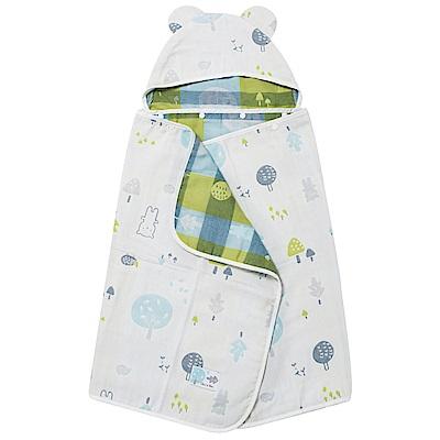 奇哥 森林家族四層紗浴巾/包巾-粉藍