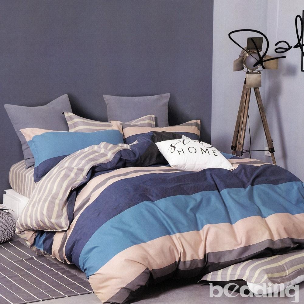 BEDDING-100%棉特大雙人8X7尺薄式被套-紳士條紋-藍