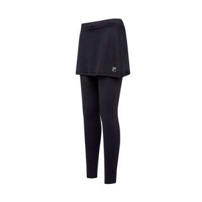 FILA 女萊卡針織裙褲-黑色 5PNT-5605-BK