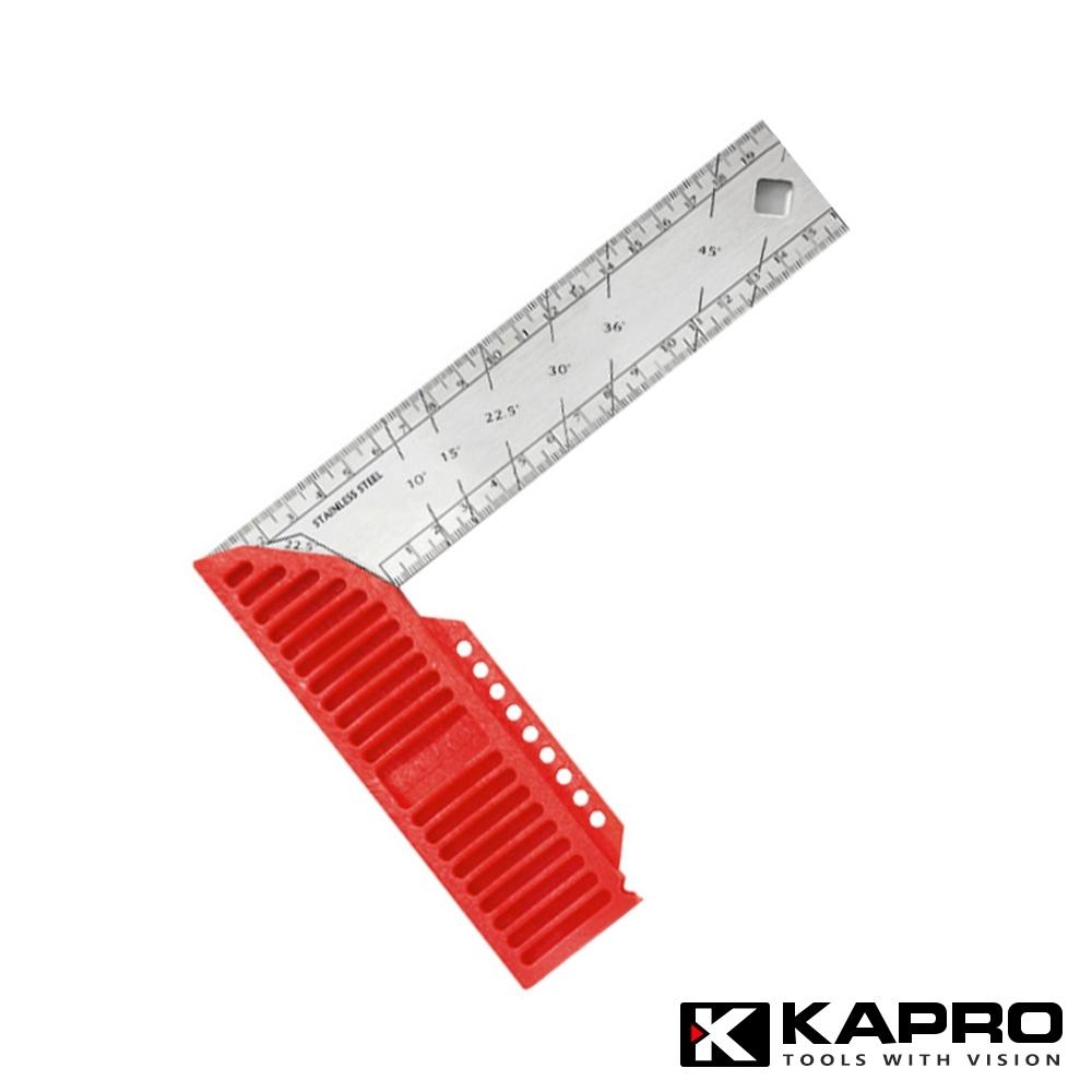以色列KAPRO開普路 木工修繕不鏽鋼/直角/畫線/弧度尺 20CM