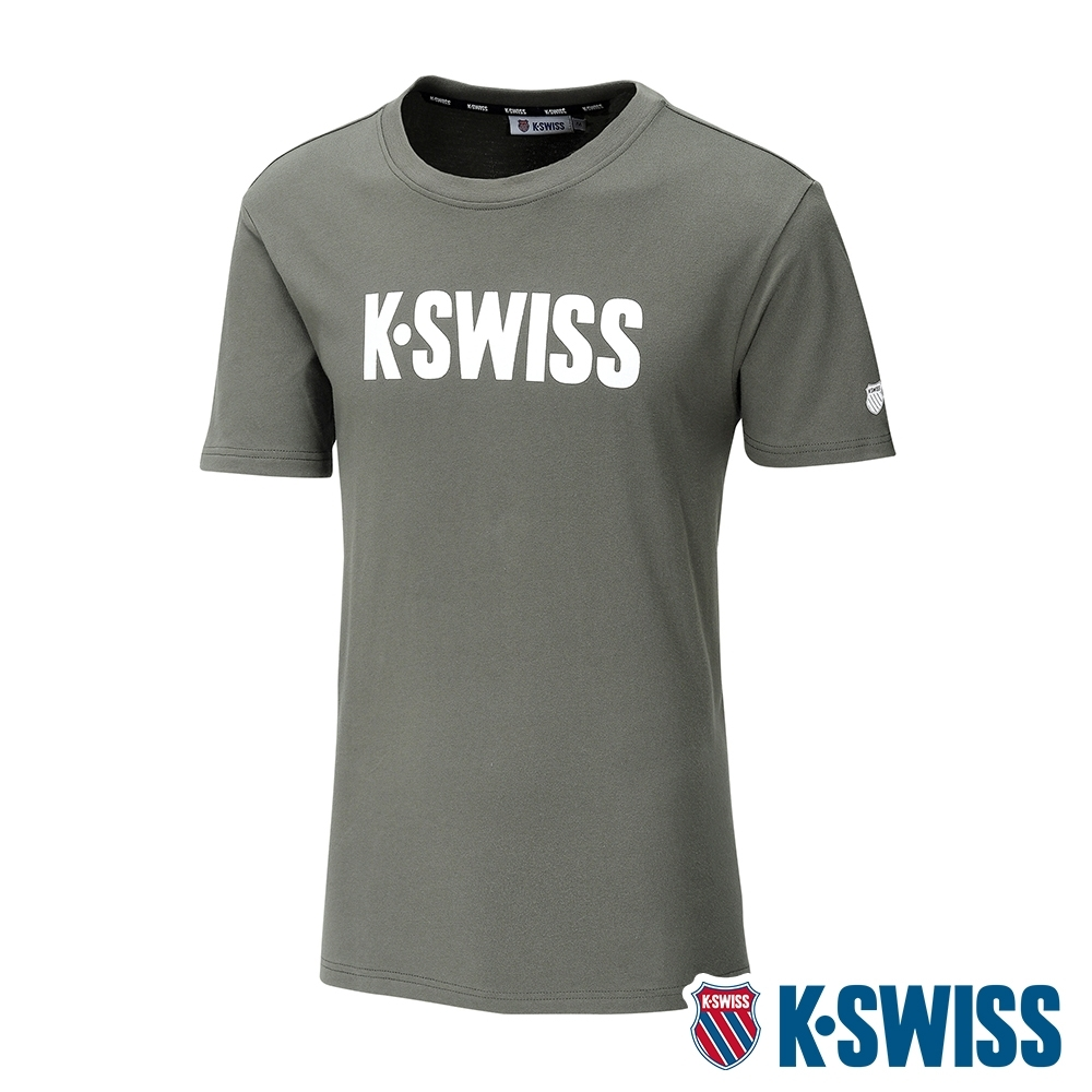 K-SWISS Contrast Logo Tee棉質吸排T恤-男-橄欖綠