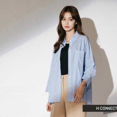 H:CONNECT 韓國品牌 女裝-棉質細條紋襯衫-藍(快)