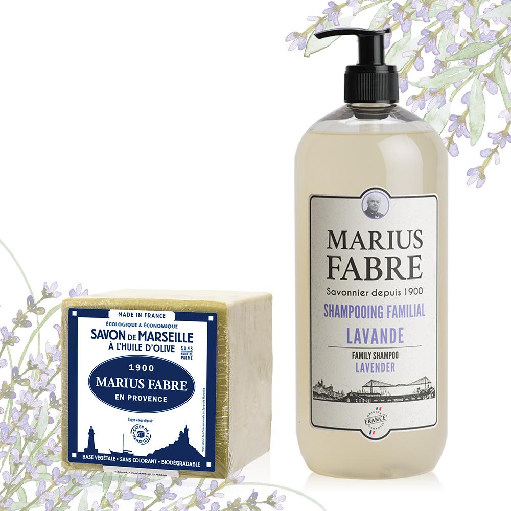 法國法鉑-1900紀念版薰衣草洗髮精-1000ml/瓶+橄欖油經典馬賽皂-200g/顆
