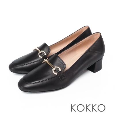 KOKKO - 鎖鍊方頭舒壓牛皮樂福平底鞋- 黑色