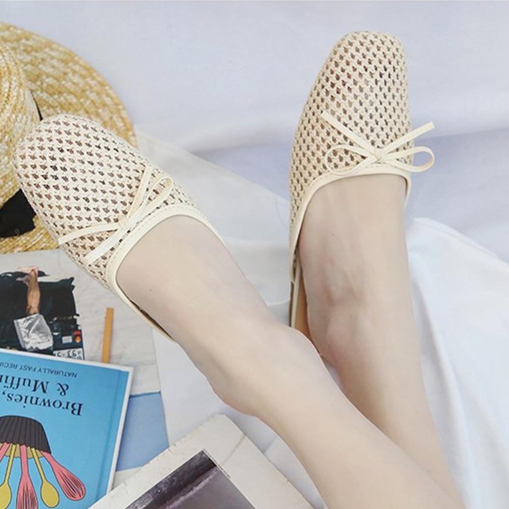 KEITH-WILL時尚鞋館 女神同款經典百搭簍空穆勒鞋-蝴蝶結米
