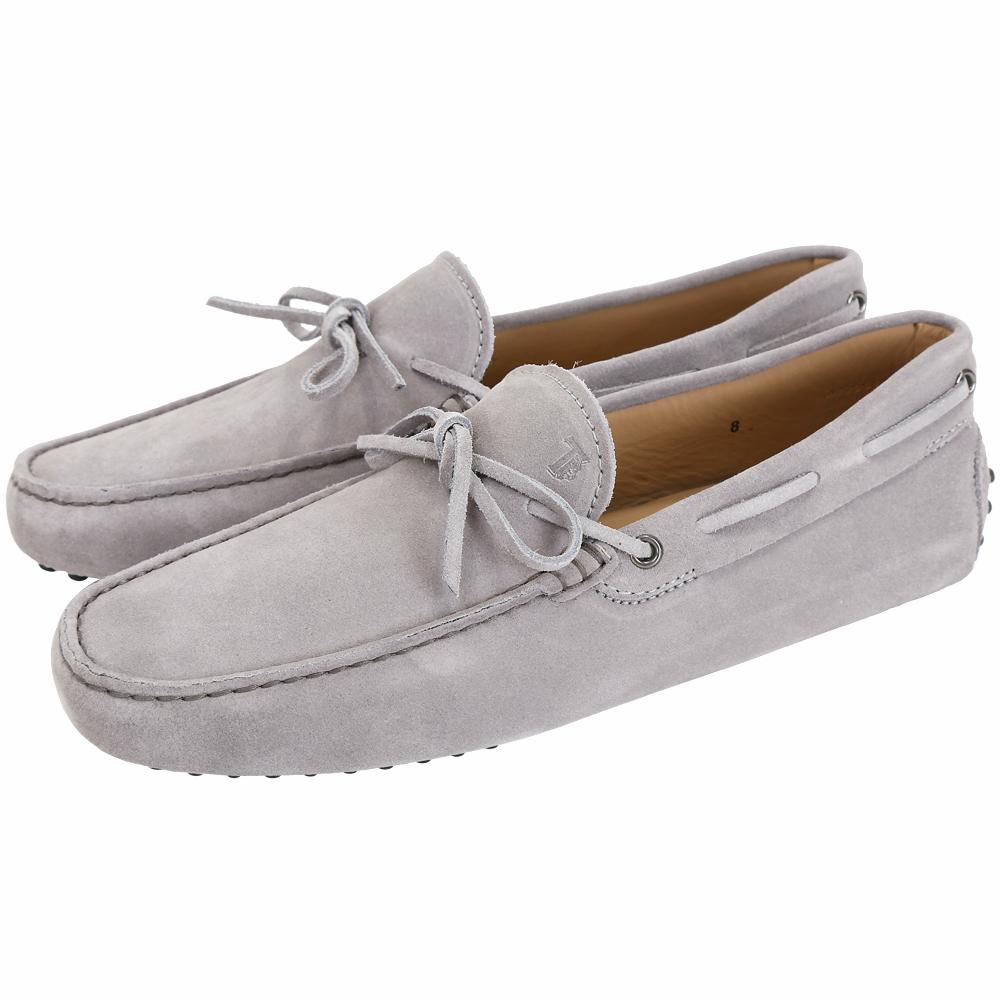 TOD'S Gommino 麂皮綁帶休閒豆豆鞋(男鞋/淺灰色)