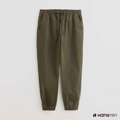 Hang Ten - 男裝 - 素面綁帶抽繩休閒長褲 - 綠
