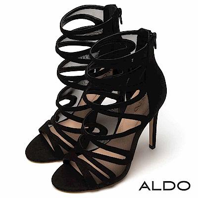 ALDO 原色性感交叉鏤空繫帶後拉鍊式細高跟涼鞋~性感黑色
