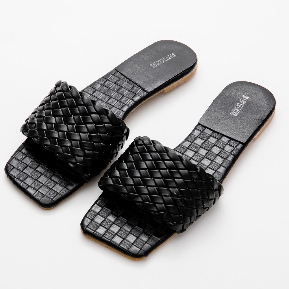 River&Moon拖鞋 韓系寬版編織方頭平底涼拖鞋 黑