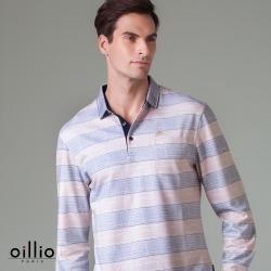 oillio歐洲貴族 男款 長袖POLO衫 超柔防皺透氣 紳士口袋 黃色