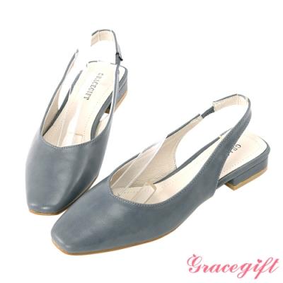 Grace gift-素面V口後空低跟鞋 藍