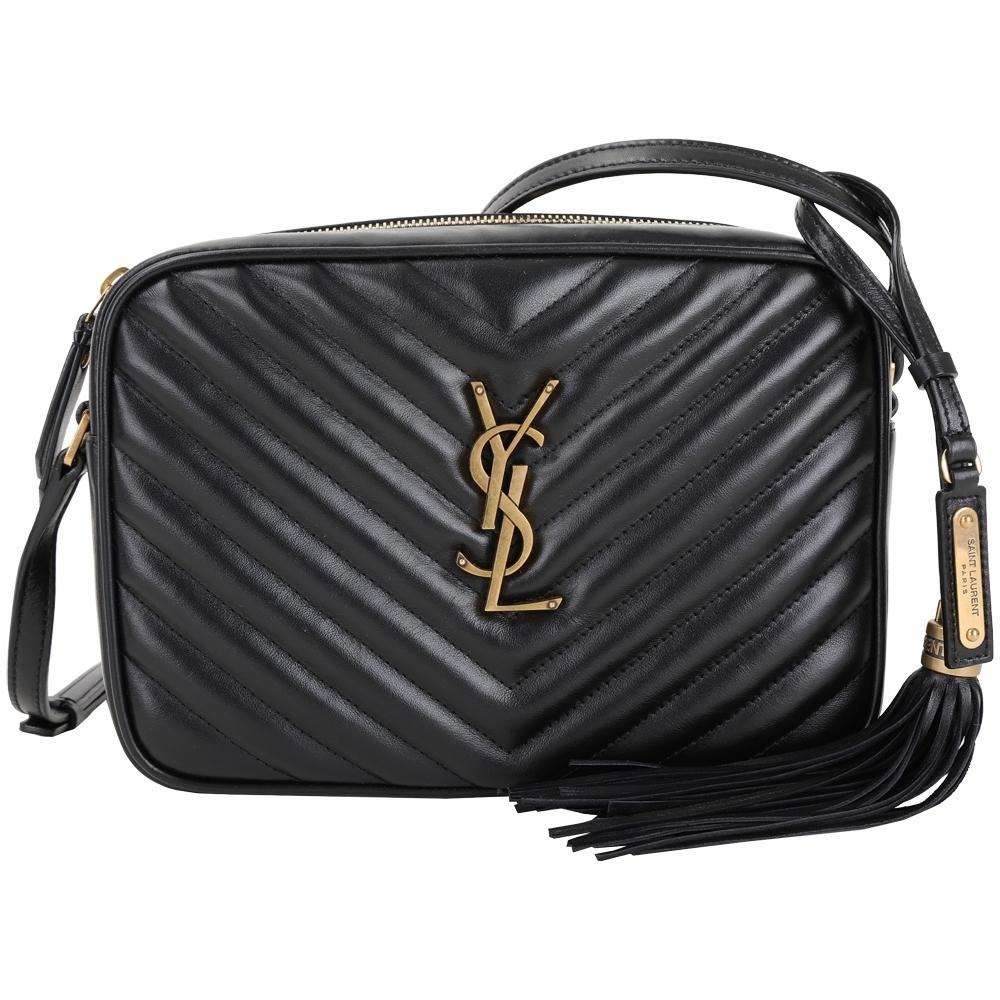 YSL Saint Laurent LOU 銅金字絎縫小牛皮流蘇相機包(黑色)