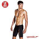 SPEEDO 男 運動 及膝泳褲 SpeedoFIT PowerMesh Pro黑橘