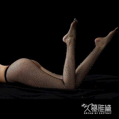 網襪款 晶耀星鑽 ‧ 鑽石閃閃性感網襪。大網格。黑色  久慕雅黛