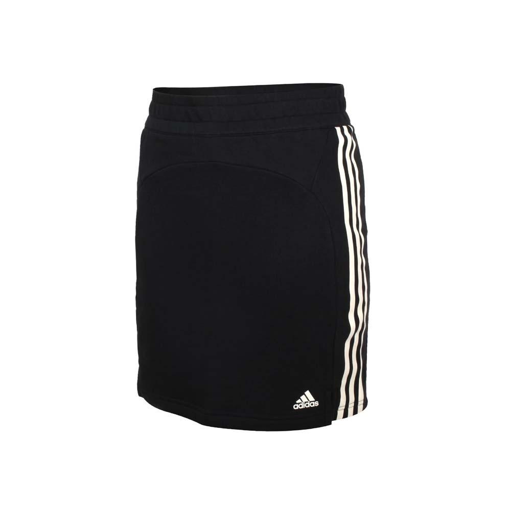ADIDAS 女短裙-五分裙 針織 裙子 休閒 吸濕排汗 愛迪達 GL3905 黑米白