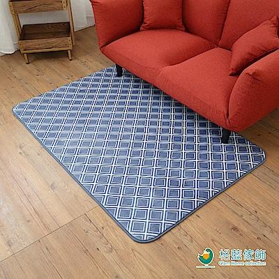 格藍傢飾-新潮流舒壓吸水防滑地毯-格紋藍