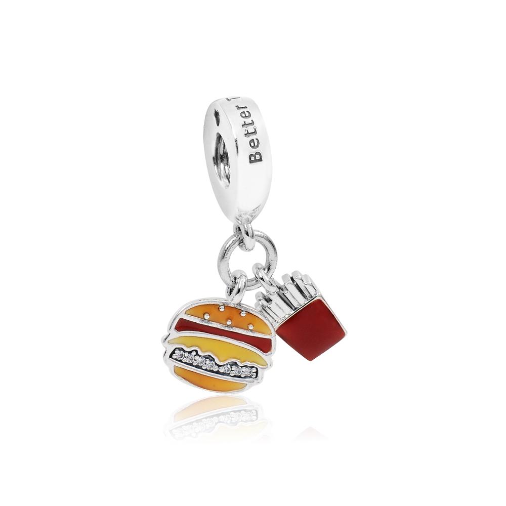 Pandora 潘朵拉 漢堡薯條造型 垂墜純銀墜飾 串珠