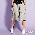 gozo 荷葉邊口袋低檔及膝寬褲(灰色)