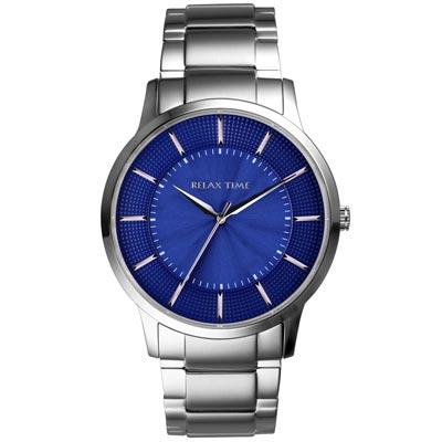 RELAX TIME入門紳士錶款 RT-76-2 銀x藍/42mm
