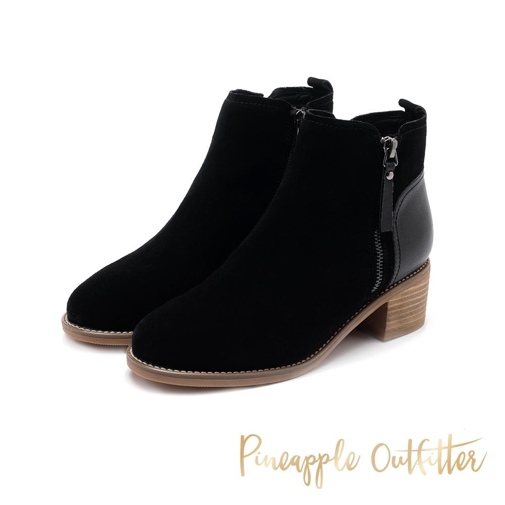 Pineapple Outfitter-BAILEY簡約拼接材質拉鍊粗跟短靴-絨黑色