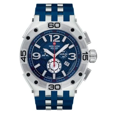 阿爾卑斯軍錶S.A.M 紅色警戒系列重磅款/藍色橡膠錶帶/50mm
