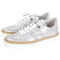 HOGAN R260 H 穿孔縫線草編細節繫帶滑板鞋(銀色)