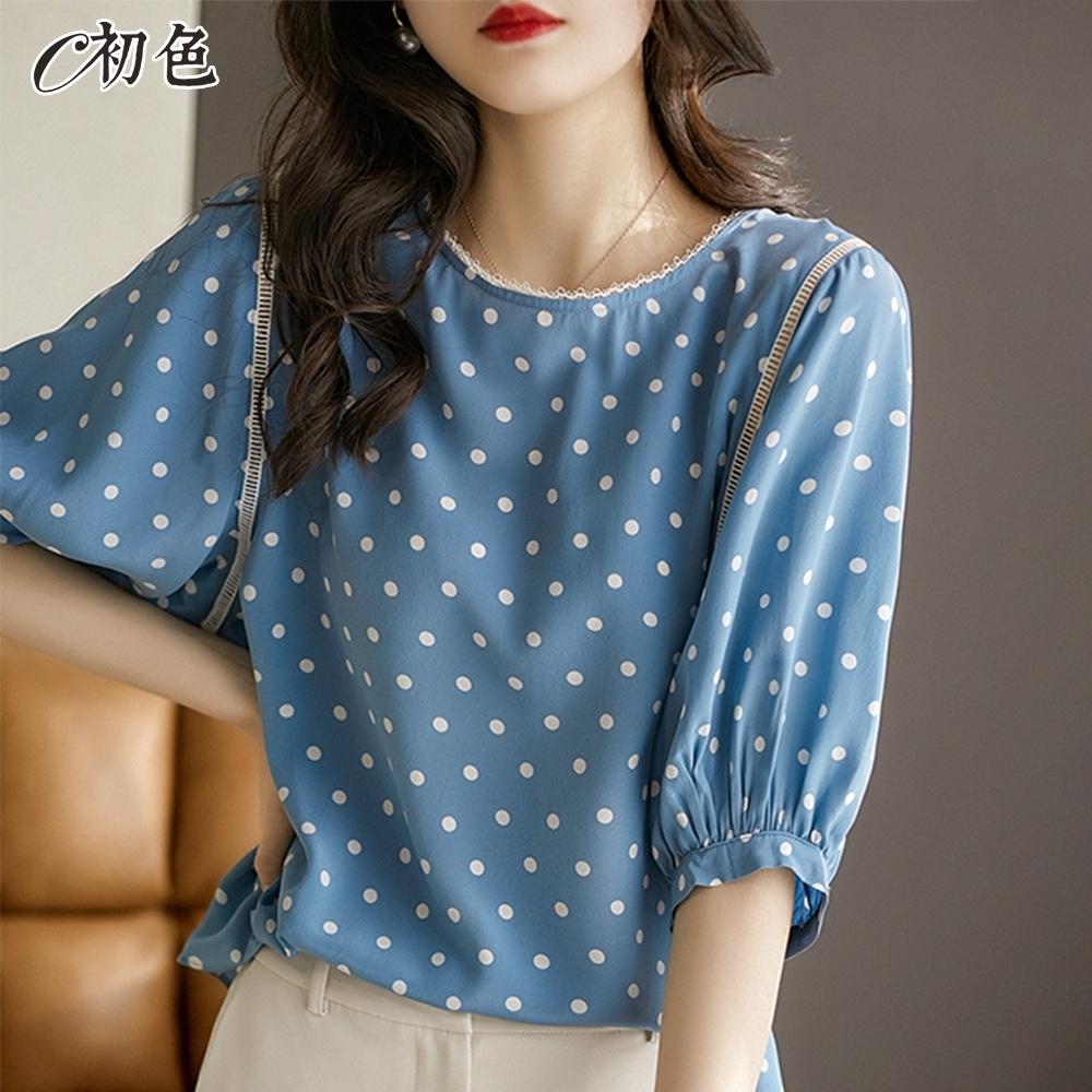 初色  法式波點燈籠袖雪紡衫-天藍色-(M-2XL可選)