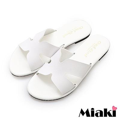 Miaki-韓版穿搭平底拖鞋-白色