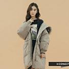【周慶限量款】H:CONNECT 韓國品牌 女裝-簡約長版羽絨外套-灰