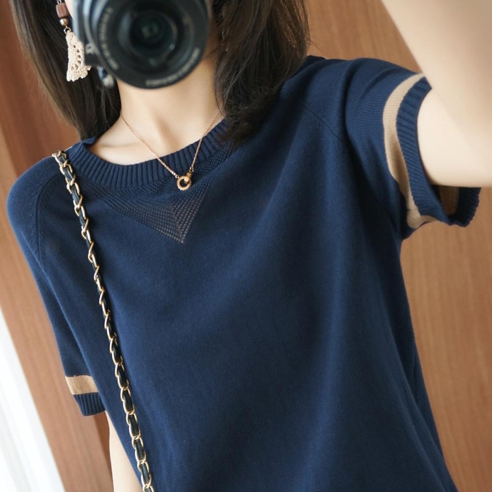ALLK 歐楷 超彈力配色針織上衣 共11色(尺寸F 任選) (藏藍色)