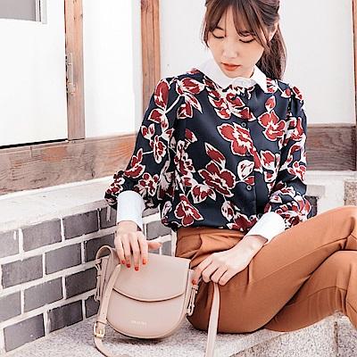 造型領配色印花兩穿式雪紡襯衫-OB大尺碼