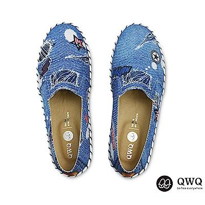 QWQ防潑水彩繪女包鞋 單寧刺繡-海水藍