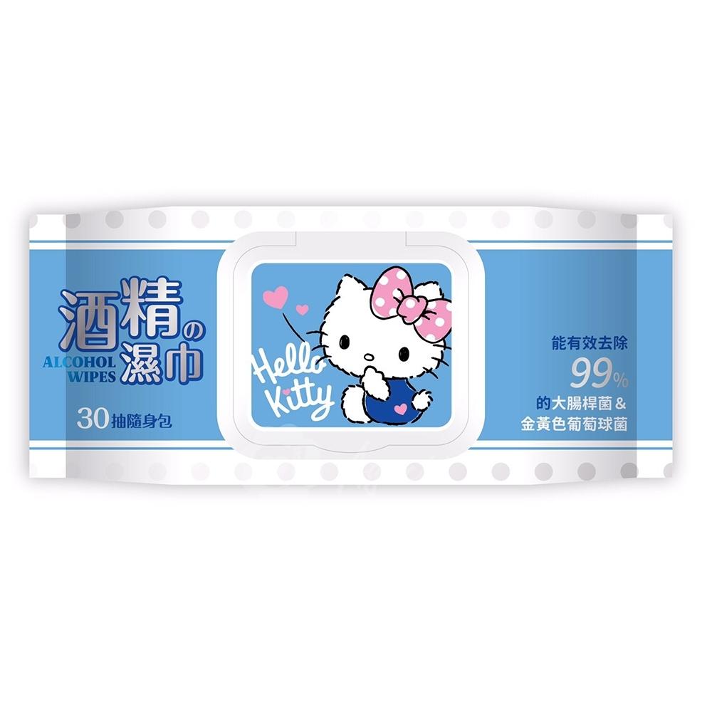 Hello Kitty 凱蒂貓 酒精加蓋濕紙巾/柔濕巾 30抽 X 36包/箱 隨身包