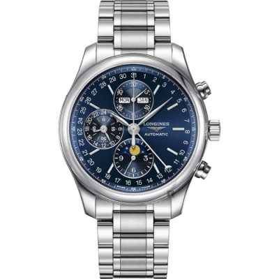 LONGINES 浪琴 Conquest 月相計時機械錶-藍/42mm L27734926