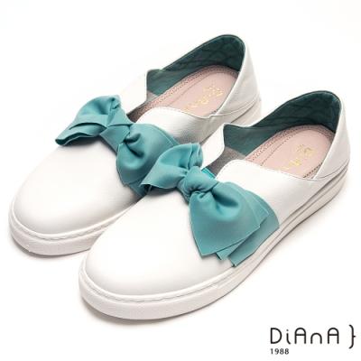 DIANA甜美大蝴蝶結V字鞋口輕量休閒鞋-漫步雲端厚切輕盈美人-藍x白