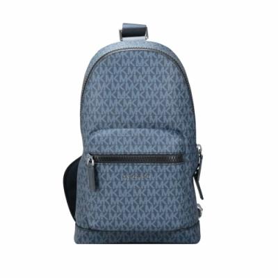 Michael Kors COOPER滿版LOGO側肩胸背包(藍)