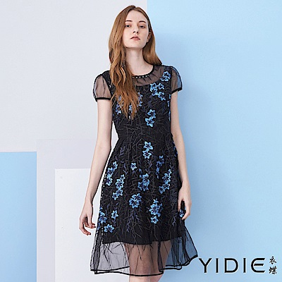 【YIDIE衣蝶】藍花刺繡碎鑽網紗洋裝