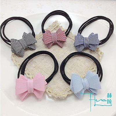 【Hera赫拉】新款韓版髮飾 布藝蝴蝶結髮圈 清新學生髮繩(隨機5入)