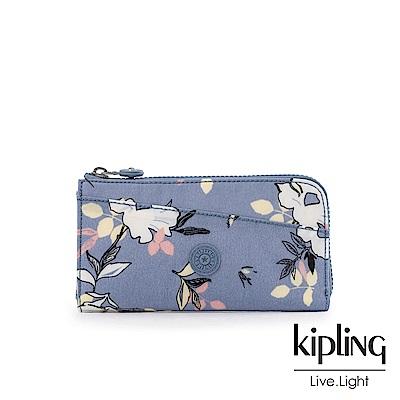 Kipling 粉紫藍柔雅花卉實用拉鍊長夾-ANILOCK