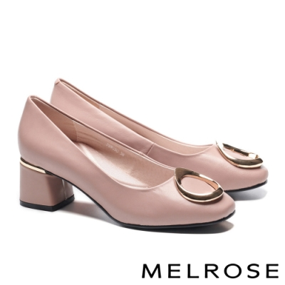 高跟鞋 MELROSE 知性典雅金屬釦飾羊皮方頭高跟鞋-粉
