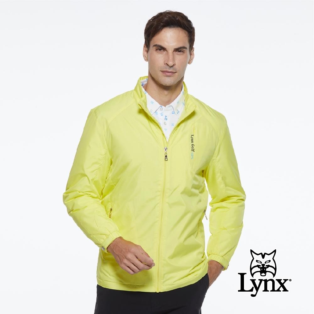 【Lynx Golf】男款防風保暖鋪棉素面隱形拉鍊口袋設計長袖外套-黃色