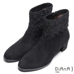 DIANA 魅力女伶–奢華水鑽氣質蕾絲羊絨粗跟短靴 – 黑