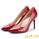 ORIN 簡約時尚名媛 嚴選真皮經典素面高跟鞋-鏡紅